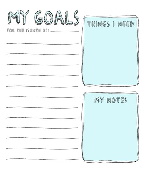 goal journal template july goals with printable list julie