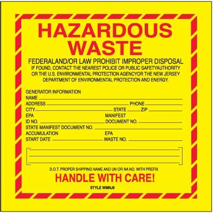 6 X 6 Quot Quot Hazardous Waste New Jersey Quot Labels Free Hazardous Waste Label Template