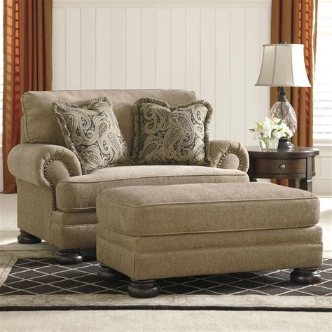 ashley chair and a half with ottoman ashley signature design keereel sand transitional chair