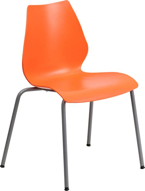 hercules commercial grade orange plastic stacking chair w