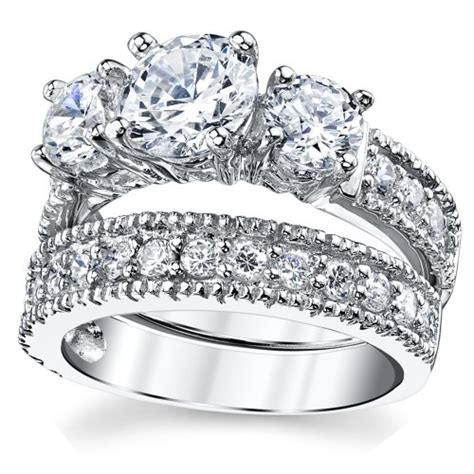 sterling silver past present future bridal set engagement