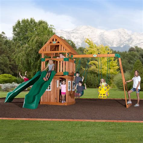 sears swing set wooden swing sets pick up an outdoor playhouse at sears
