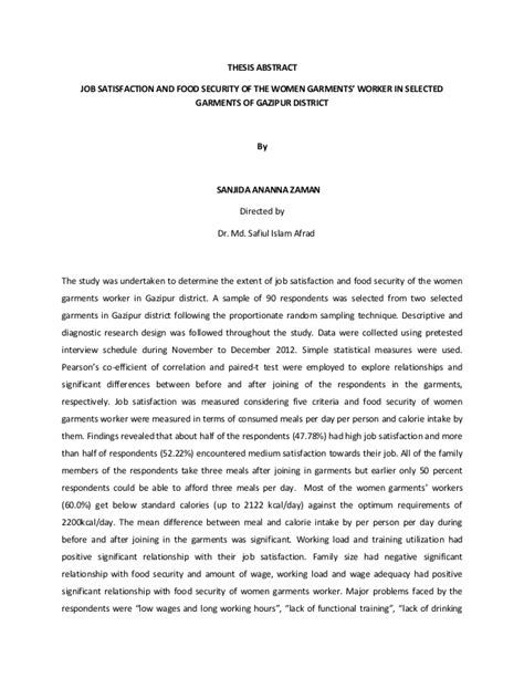 thesis abstract about food job satisfaction and food security of the women garments