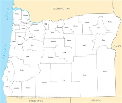 Oregon State Search A Large Detailed Oregon State County Map