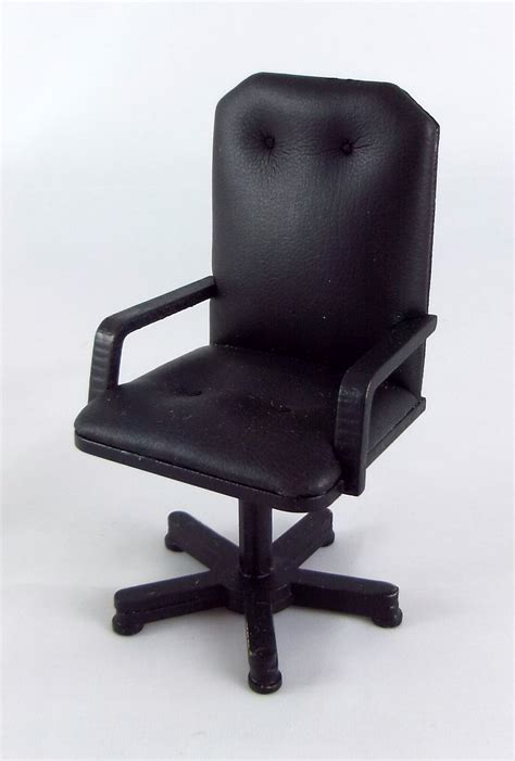 Black Wooden Desk Chair by Dolls House Miniature Office Study Furniture Black Wood