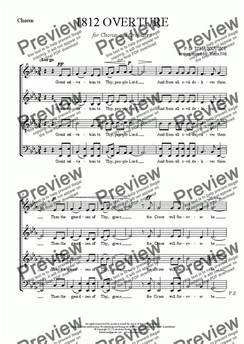 sections of a choir chorus part from 1812 overture for chorus and orchestra