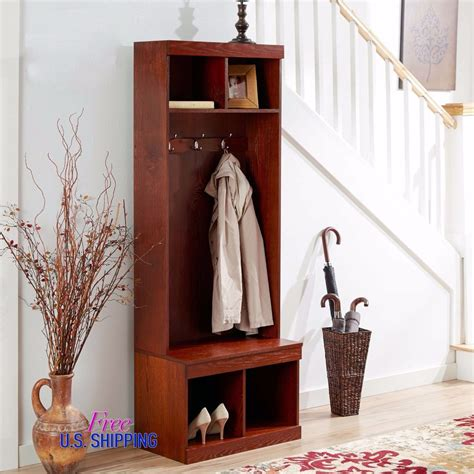 shoe hooks storage entryway wooden tree shoe storage bench coat rack