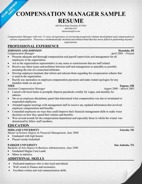 Compensation And Benefits Manager Sle Resume by Executive Compensation Executive Compensation Manager Salary