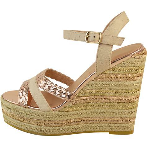Sandal Wedges Bunga Af13 11 new womens stud espadrille wedge summer sandal
