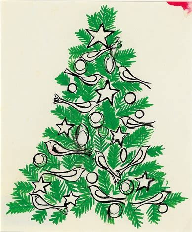 green christmas tree with birds by andy warhol on artnet