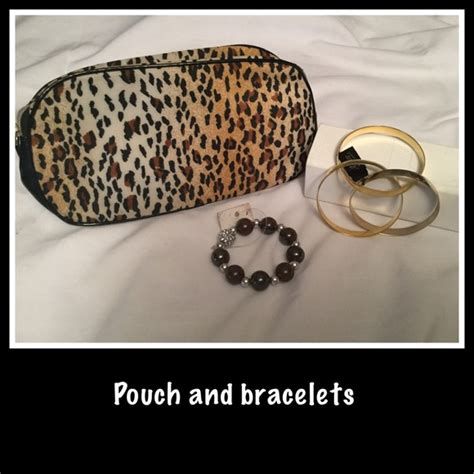 Print Makeup Pouch nwot animal print makeup pouch and bracelets os from
