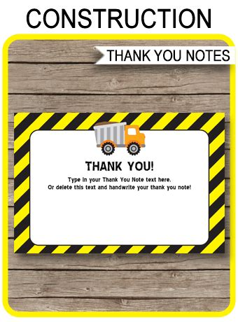 printable construction party   cards