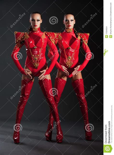 dancers  red costumes stock photo image