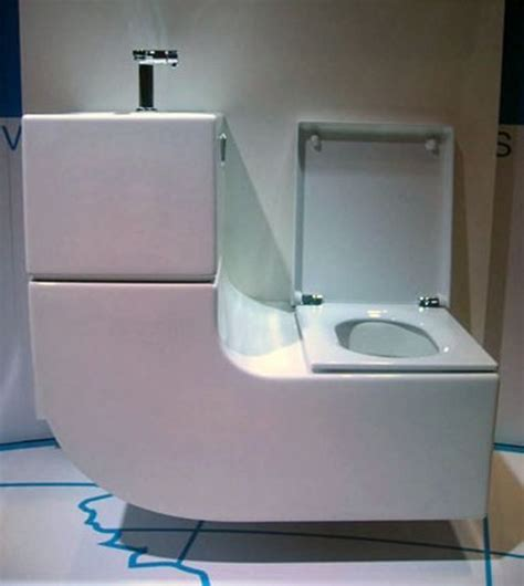 picture of sleek curved sink toilet combo