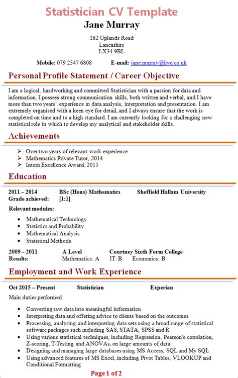 Resume Statistics by Statistician Resume Exle Exles Of Resumes