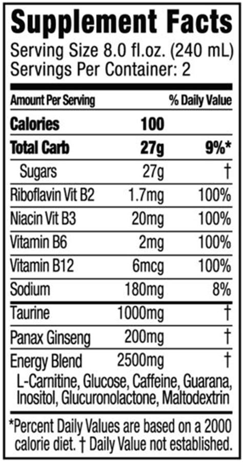 energy drink nutrition label energy drink wow