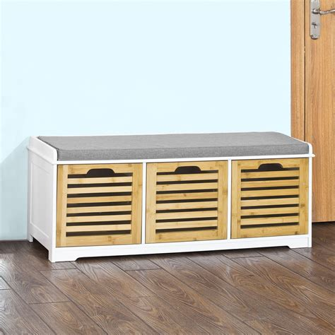 Storage Bench With Drawers Sobuy Storage Bench With 3 Drawers Shoe Cabinet With Seat
