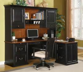 Computer Desk With Hutch Black Bush Office Furniture For Reliable Office Supplies