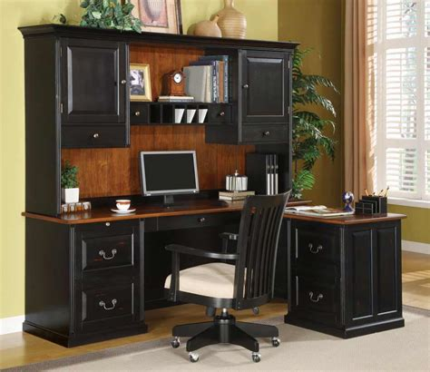 Black Desk With Hutch Bush Office Furniture For Reliable Office Supplies