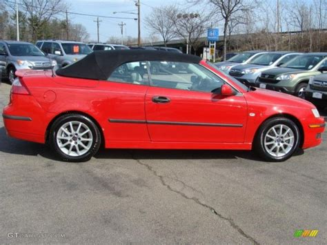 saab convertible red laser red 2004 saab 9 3 arc convertible exterior photo