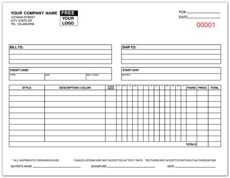 printable apparel order forms apparel purchase order forms