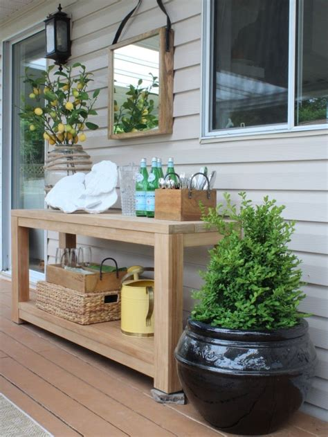 Patio Table Decor Best 25 Outdoor Console Table Ideas On Entry Table Farmhouse Porch Table And