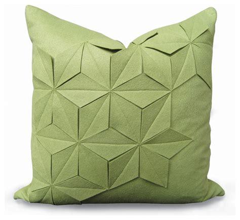 geometric green apple felt pillow