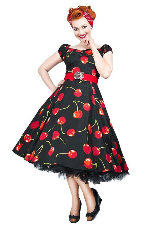 50s swing fashion vintage style black cherry stem swing dress vintage