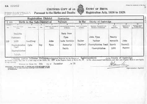 full birth certificate extract meaning geoffrey hyde fynn s birth certificate