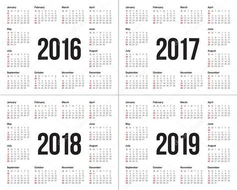 almanac 2018 2019 books calendrier 2016 2017 2018 2019 image vectorielle 86323784