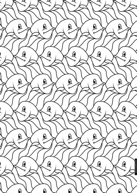 tessellation coloring pages escher tessellation coloring