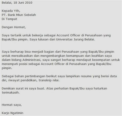 Contoh Application Letter Dan Terjemahan Cover Letter Bahasa Indonesia Experience Resumes