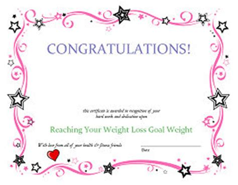 weight loss certificate template deedee s fitness lifestyle