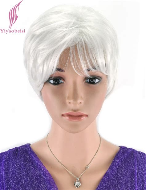 short wigs for older women yiyaobess 6inch puffy straight short white wig for older