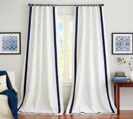 Navy And White Curtains Pottery Barn Room Designer White Grommet Curtain Panels White Panel Curtains With Navy Trim