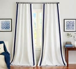 White Curtains With Navy Trim Pottery Barn Room Designer White Grommet Curtain Panels White Panel Curtains With Navy Trim