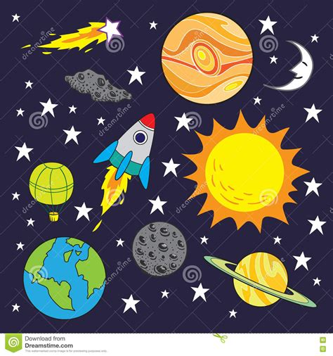doodle themes for galaxy y space theme background stock vector illustration