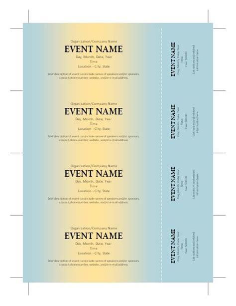 free template for tickets free ticket template silent auction ticket