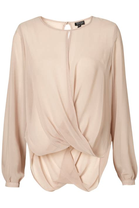 draped blouse topshop drape front blouse in pink mink lyst