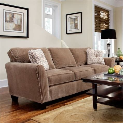 broyhill maddie microfiber mocha sofa with affinity wood