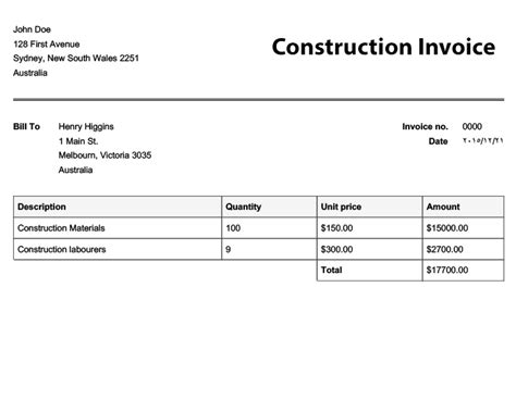 construction company invoice template construction invoice template invoice exle
