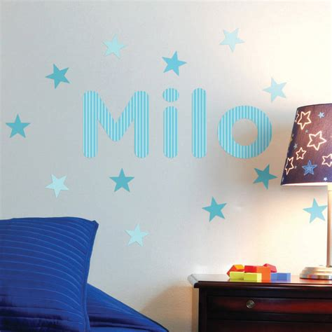 childrens personalised wall stickers personalised stripes childrens name wall stickers by the