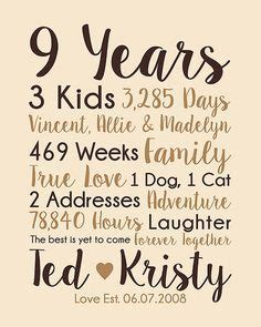 9th Anniversary Gift, 9 Years Married, Wedding Anniversary