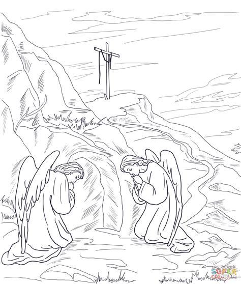 coloring page jesus empty tomb empty tomb coloring page free printable coloring pages