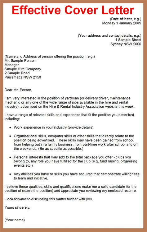 write an effective cover letter how to write a cover letter for a application