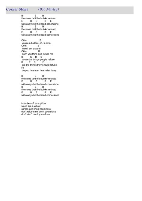 Bob Marley 55 Lyrics Tabs Bob Lyrics