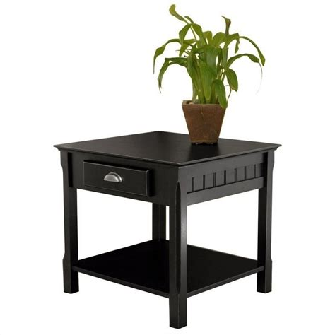 Black End Tables Winsome Timber Solid Wood Nightstand Black End Table