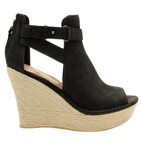 Peep Toe Wedges buy ugg 174 womens black jolina peep toe wedges at hurleys