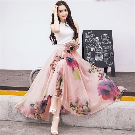 2017 new fashion elastic waist casual chiffon skirt summer