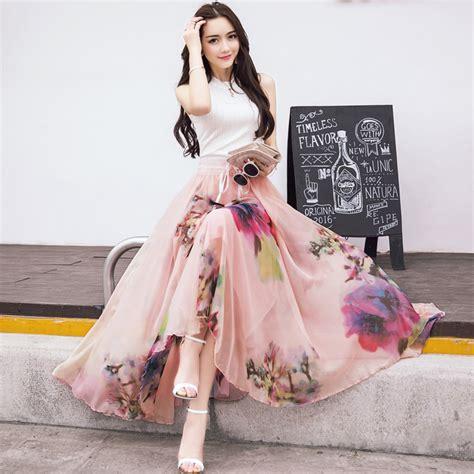 2016 new fashion elastic waist casual chiffon skirt summer bohemian floral print maxi